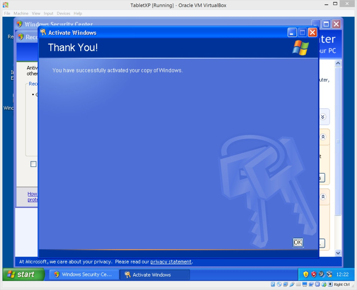 Running windows xp under virtualbox the oikofuge activating xp xp successful activated ccuart Image collections