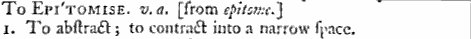 "Johnson's Dictionary ""epitomise"""