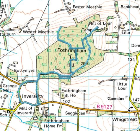 Fothringham Hill route