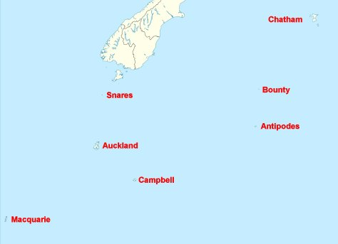 Location of New Zealand Outlying Islands