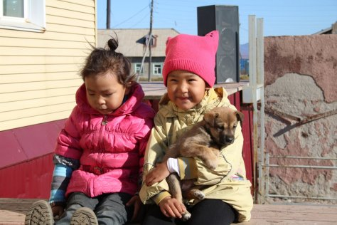 Children & puppy, Lavrentiya