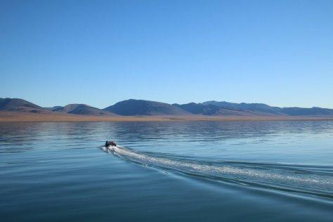 Zodiac approaching Wrangel Island