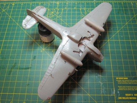Hasegawa 1/48 Hurricane ready for primer, underside