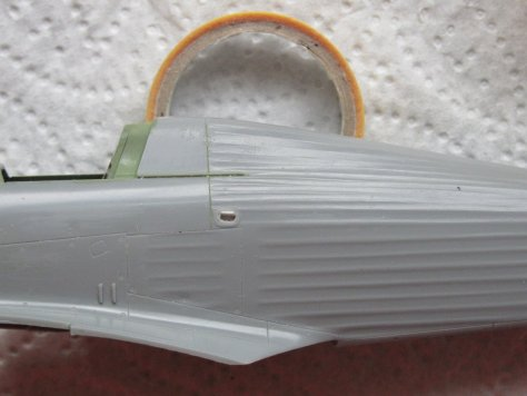 Hasegawa Hurricane kit pilot's handhold, modified open