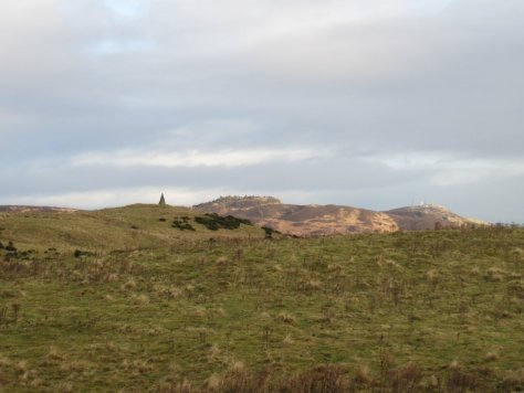 Cairn of West Mains Hill, Auchterhouse Hill & Craigowl beyond