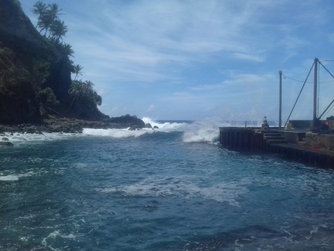 Surf at the landing point, Bounty Bay, Pitcairn