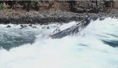 Surf at the Pitcairn landing point, Bounty Bay (2)