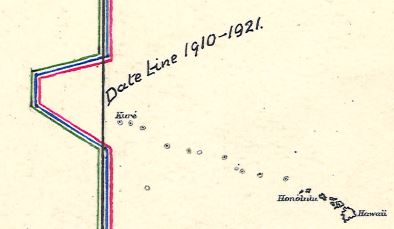 "Dateline detail (Hawaii) from ""Notes on the History of the Date or Calendar Line"" (1921)"