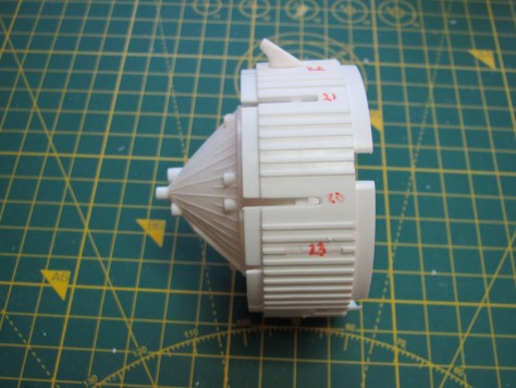 Revell 1/96 Saturn V, S-IVB stage aft skirt marked up for detailing