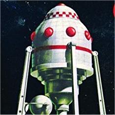 Detail of box art, Lindberg Moon Ship