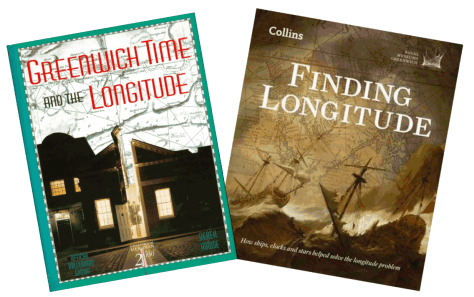 Covers of two books about longitude