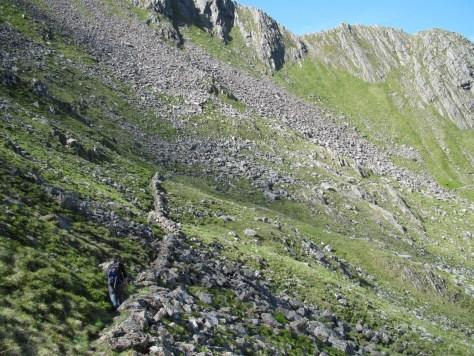 Following the wall below the Forcan Ridge