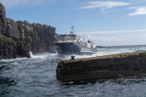 Ferry entering Mykines harbour