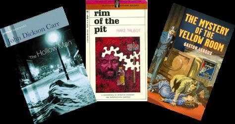 Covers of three locked room mysteries
