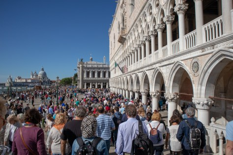 Crowds outside Doge's Palace, Venice