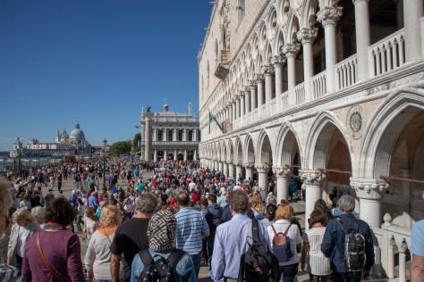 Crowds outside Doge's Palace, Venice