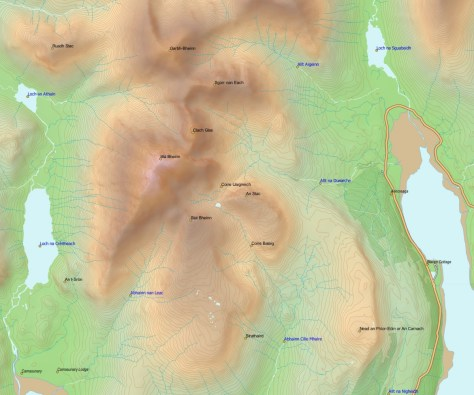 Blaven with labelled points, colour-coded