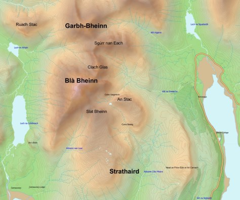 Blaven with preliminary label sizes on landforms