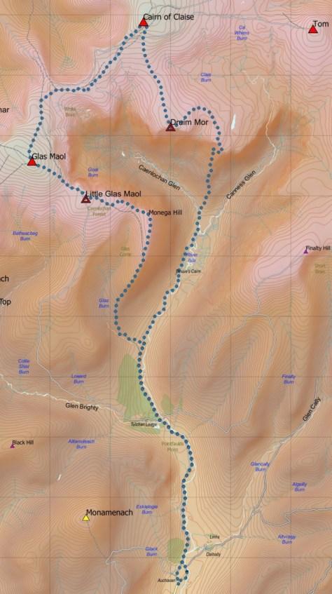 Caenlochan route