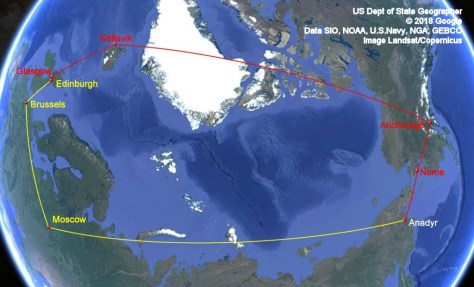 Google Earth two routes from Scotland to Anadyr