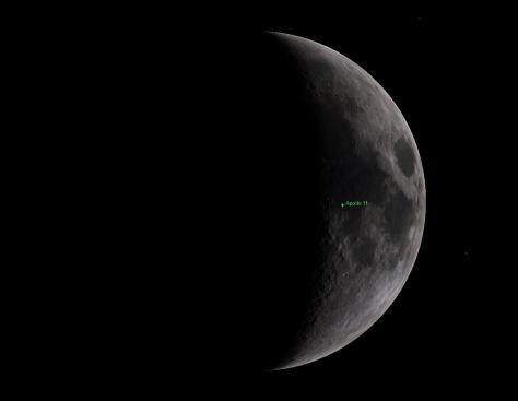 Moon phase during Apollo 11 landing
