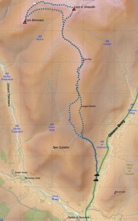Carn a' Gheiodh route
