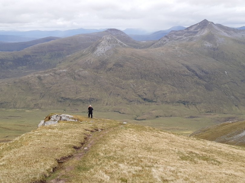 Descending Aonach Beag, Mamores beyond