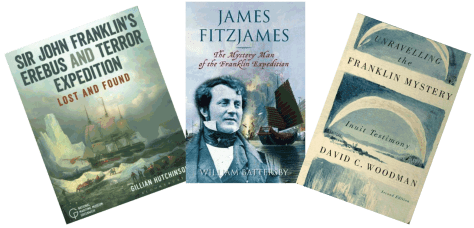 Covers of three books about the Franklin Expedition