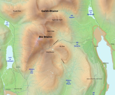 Blaven with OSM tracks and trig point