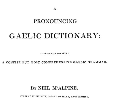 Title page of McAlpine's Gaelic Dictionary