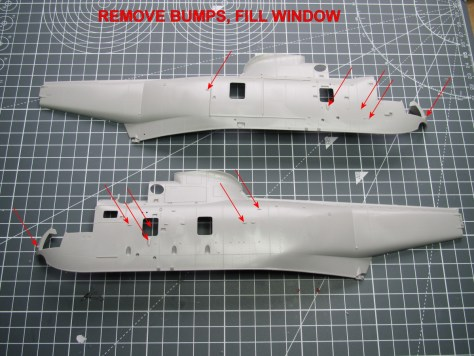 Hasegawa 1/48 SH-3H Sea King, fuselage mods for SH-3D