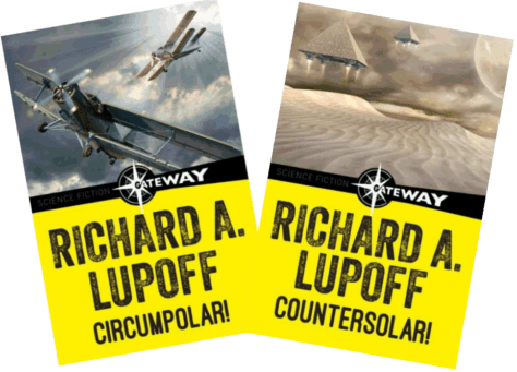 Covers of Twin Planets novels by Richard A. Lupoff