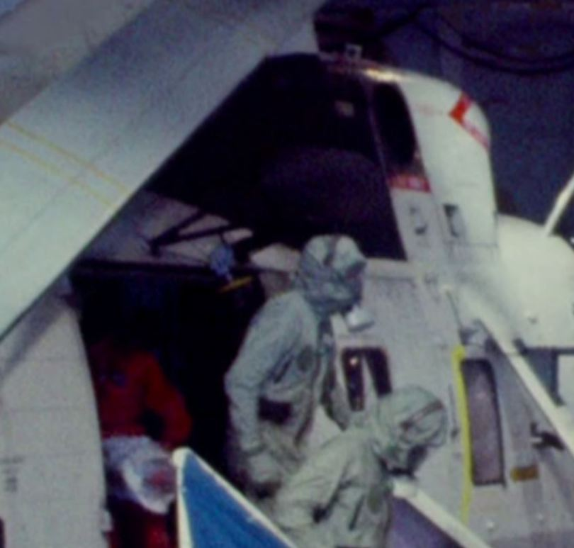 Partially stowed winch on Apollo 11 recovery helicopter (2)