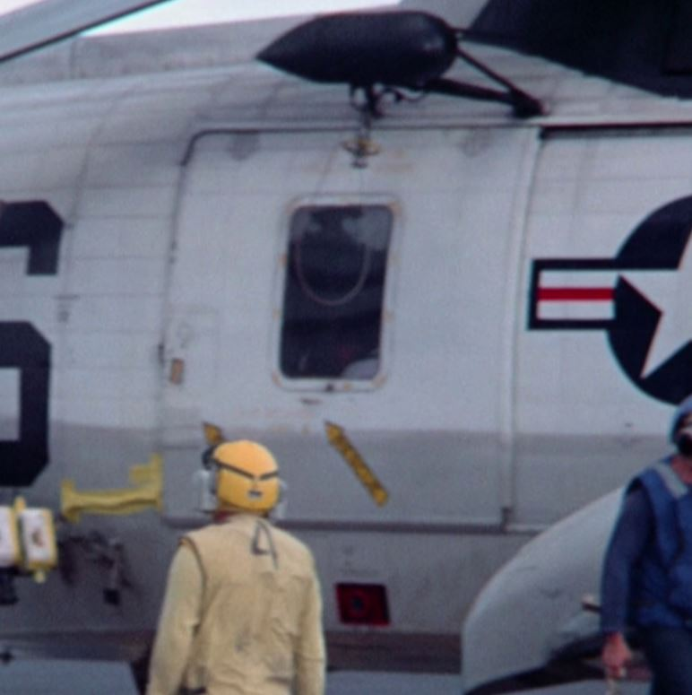 Partially stowed winch on Apollo 11 recovery helicopter (1)