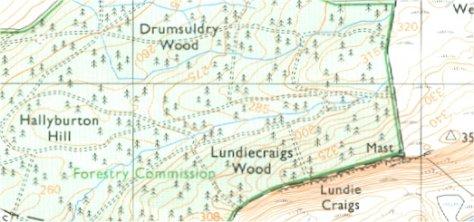 OS 1:25000 Lundiecraigs Wood