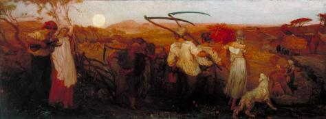 The Harvest Moon exhibited 1872 by George Mason 1818-1872