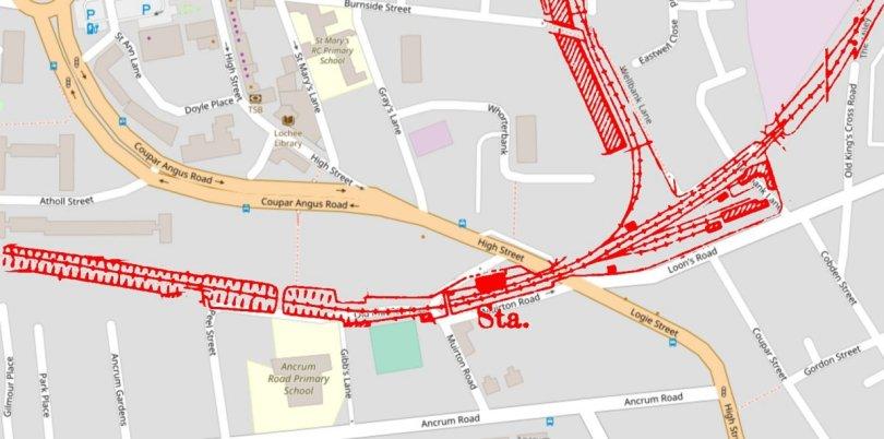 Location of Lochee Station, Dundee-Newtyle Railway