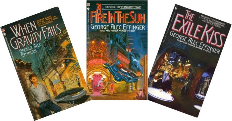 Covers of the Marid Audran trilogy, by George Alec Effinger