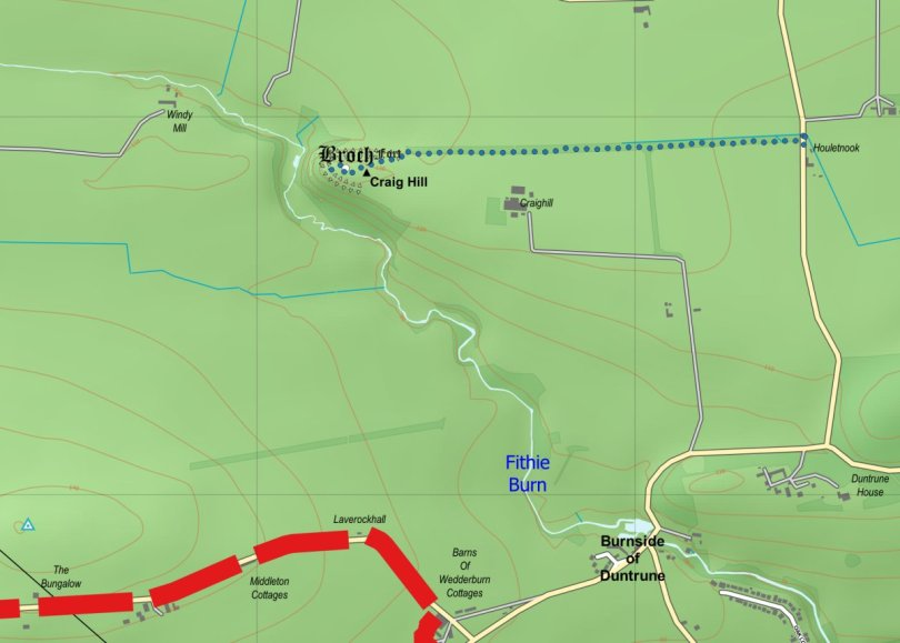 Route to site of Craig Hill broch