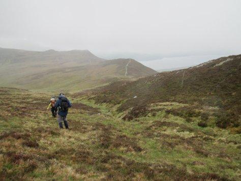 Descending towards the Bealach a' Mhaim, Meall Dubh and Loch Rannoch beyond
