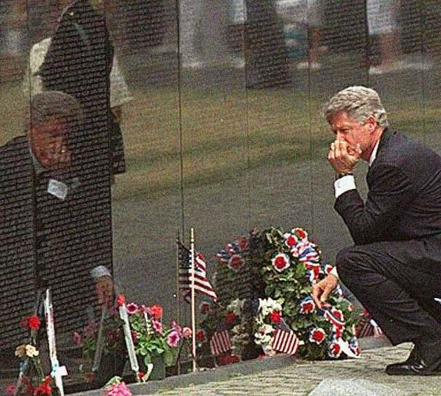 President Clinton at The Vietnam Memorial 1997 - the sacrifice seemed everywhere.