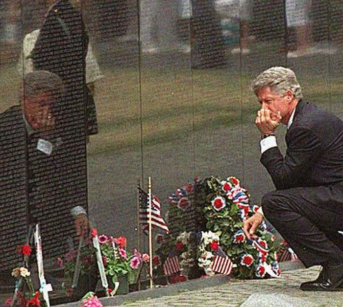 President Clinton at The Vietnam Memorial 1997 - the sacrifice seemed everywhere.