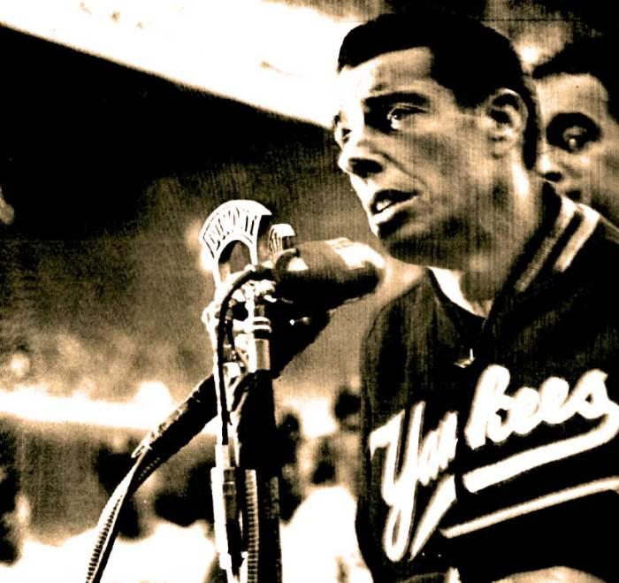 Joe DiMaggio - taking part in the annual Madness in 1949.