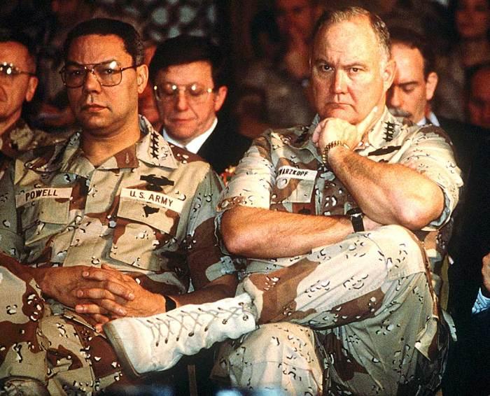 Gen. Schwarzkopf and  Colin Powell - waiting.