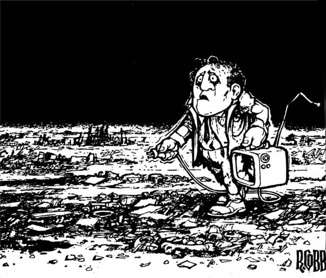 Well . . .maybe not quite. (Drawing: The Inimitable and Prophetic Ron Cobb)