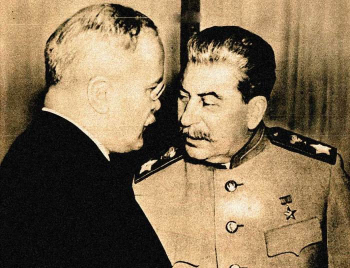 "Stalin and Molotov -  The Post-War personification of ""us versus them""."