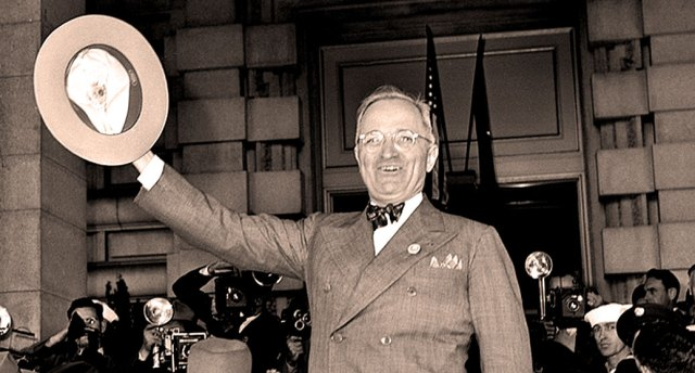 President Truman arriving in San Francisco -  what a difference three months made.