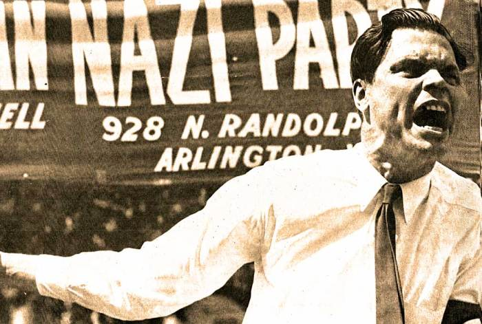 Photo: George Lincoln Rockwell - American Nazi Party - 'we are a violent people with a violent history, and the instinct for violence has seeped into the bloodstream of our national life.' - Arthur Schlesinger, jr.