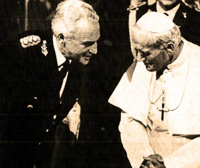The Pope visits Argentina - the military Junta asks for blessings. The British land troops on Port Stanley.