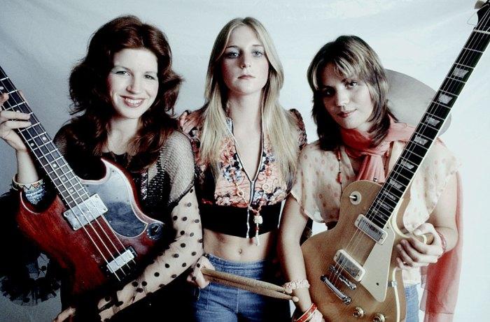 The Runaways - original lineup in 1975 - Miki Steele,  Sandy West and Joan Jett. Preparing to break a few glass ceilings.